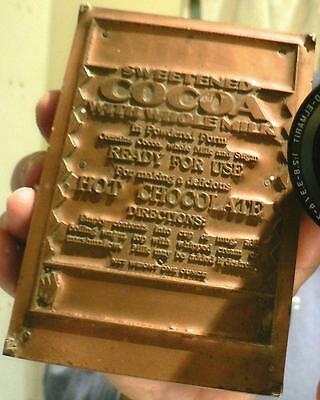 Vintage Copper Large Sweetened Cocoa Hot Chocolate Letterpress Print Block