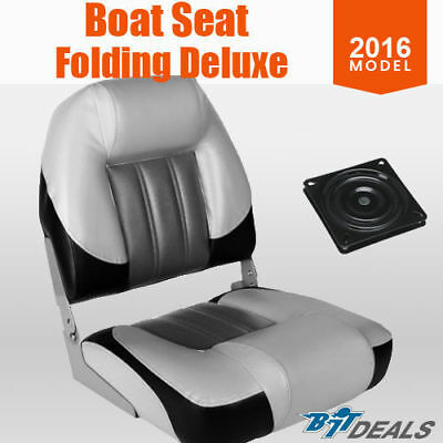 NEW Premium Folding Boat Seat Marine All Weather Black Grey White With Swivel