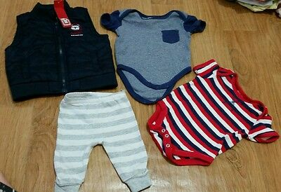BULK 4 pcs New & Used Baby Boy Winter Summer Clothes Jacket Bodysuit 0-3 Sprout