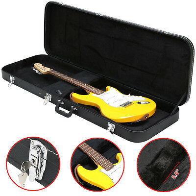 Bass Guitar Hard Case Fits Most Standard Electric Bass Guitars Hardshell Black