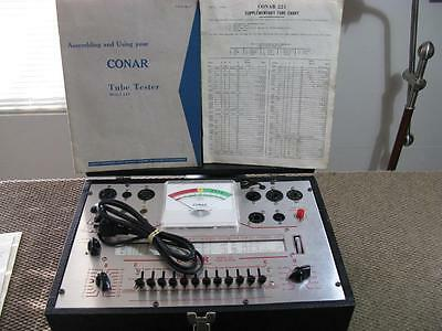 Conar 221 Tube Tester - with Manual, Schematic, Supplementary Tube Data, & WORKS