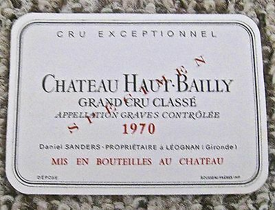 Vintage Wine Label 1970 Chateau Haut-Bailly Grand Cru Classe Specimen