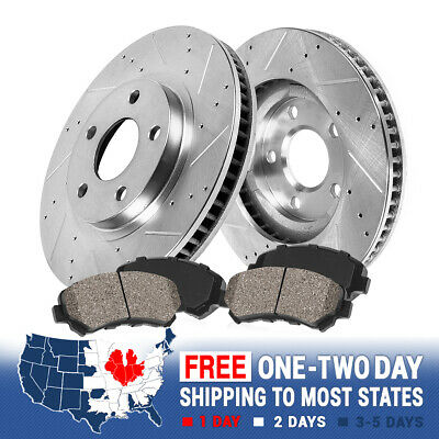 FRONT DRILLED AND SLOTTED BRAKE ROTORS & CERAMIC PADS RX350 RX450h Highlander