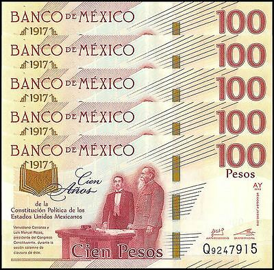 Mexico 100 Pesos X 5 Pieces PCS, 2017,P-NEW,UNC,100 Years Political Constitution