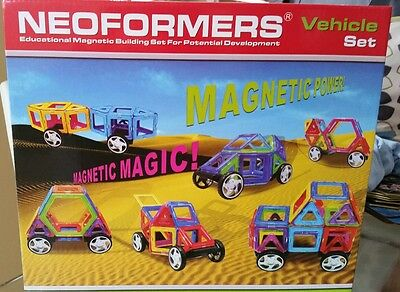 New magnetic building tiles block. Magna tiles . Playmags. Vehicle set