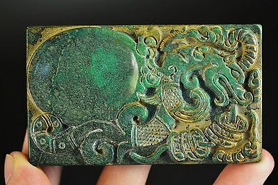 Superior quality Chinese old jade hand carved dragon inkstoe D1
