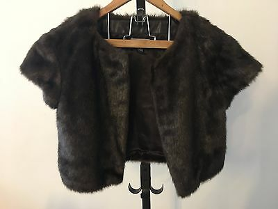 MNG Faux Fur Dark Brown Shawl Cover Up S-M AU8-10 Vintage look