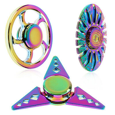 Rainbow Metal Hand Finger Spinner Fidget EDC Focus Toy for Kids Adults ADHD Gift