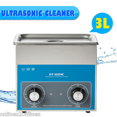 3L Liter Stainless Steel Industry Heated Ultrasonic Cleaner Heater w/Timer 100W