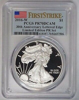 2016 W $1 Silver Eagle Limited Ed PCGS PR70DCAM First strike 30th Ann Lettered