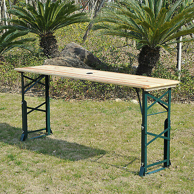 Outsunny 6ft Folding Beer Table Outdoor Picnic Height Adjustable w/Umbrella Hole