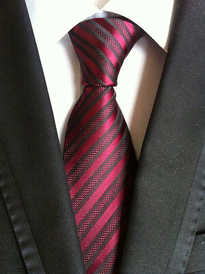 Classic Mens Necktie Silk Skinny Wine Red Striped Ties Wedding Business XT-112
