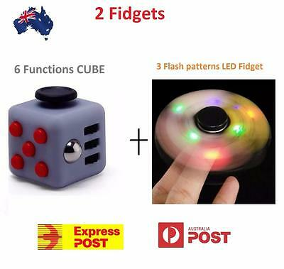 LED Fidget Spinner Illuminates 3 Flashes + Cube Click Spin Glide 6 Functions