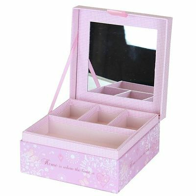 """Pretty Pink Decorative """" Home Is Where The Heart Is """" Girls Jewellery Box"""