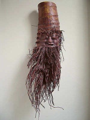 "Carved Bamboo Culm Root Face Old Man Wall Hanging 24"" Asian Chinese"