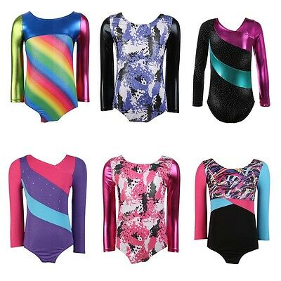 Kid Girl Gymnastics Long Sleeve Leotard Ballet Dance Skating Bodysuit Costume UK