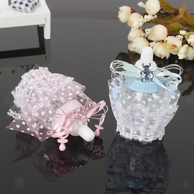 12x Lace Fillable Baby Shower Candy Bottles Sweet Boxes Party Favors Pink/Blue