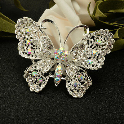 Silver Fashion Rainbow Crystal Large Butterfly Wedding Party Broach Brooch