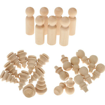 Set of 30pcs Unpainted Blank Wooden Peg Dolls Wedding Party Kids Toys DIY