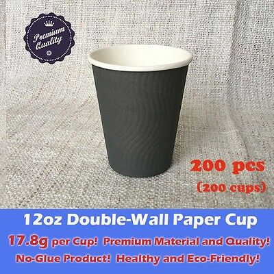 200pcs 12oz Disposable Coffee Cups Double Wall Grey Paper cups Eco friendly 18g
