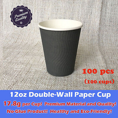 100pcs 12oz Disposable Coffee Cups Double Wall Grey Paper cups Eco friendly 18g