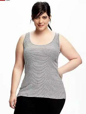 74a5a75d5b7fe OLD NAVY FITTED Rib-Knit Tank Top White Black Stripe NWT Plus Sizes ...