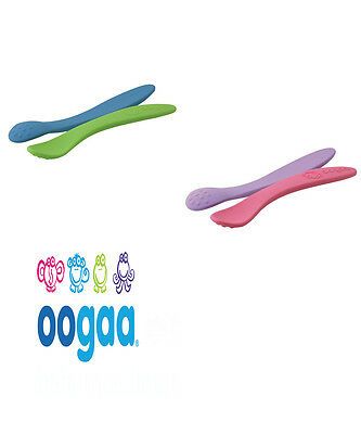 Oogaa Silicone BPA Free Baby Spoons - Set Of Two - 2 Colour Options