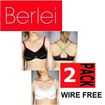 f5a0bb6b21 2 x BERLEI WOMENS ELECTRIFY SPORTS BRA WIREFREE Racer Back Black White  Active
