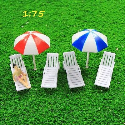 TYS27075 2Sets Parasols Sun Loungers Deck Chairs Bench Settee Spur OO Modellbahn
