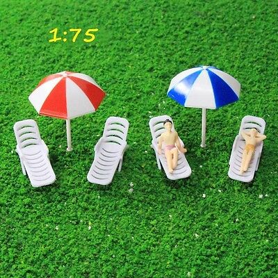 TYS26075 2Sets Parasols Sun Loungers Deck Chairs Bench Settee Spur OO Modellbahn