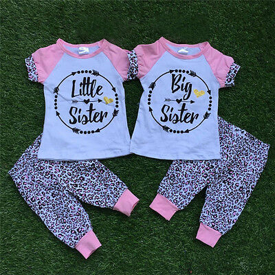 Family Matching Toddler Baby Girls Big/Little Sister T-shirt Top +Long Pants Set