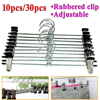 Metal Coat Hanger Trousers Adjustable Clothes Pant Skirt Clip Hook Holder 30pcs