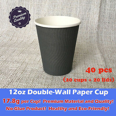 40 pcs/20sets 12oz Disposable Coffee Cups W/Lids Double Wall Grey Paper Cup 18g