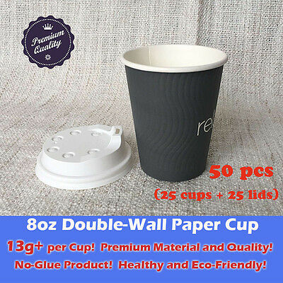 50 pcs/25sets 8oz Disposable Coffee Grey Paper Cups Double Wall W/Lid Takeaway