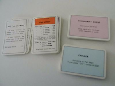 Vintage 1980's Monopoly Game Deed Community Chest & Chance Cards