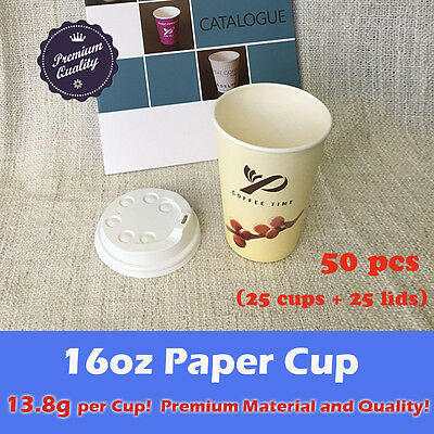50pcs/25sets 16oz Disposable Coffee cups W/Lids Cream Single Wall Paper Cups