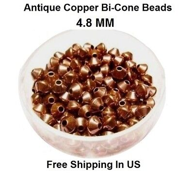 4.8 MM Antique Copper Bi-Cone Hollow Beads Hole 1.5 MM (Genuine Solid Copper)