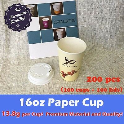 200pcs/100sets 16oz Disposable Coffee cups W/Lids Cream Single Wall Paper Cups