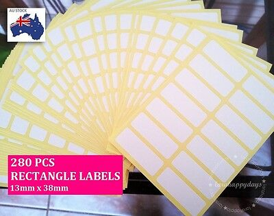 280 Pcs Sticker Label Self Adhesive Blank Rectangle White 13mm x 38mm