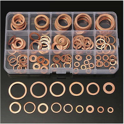 120x 8Size Assorted Solid Copper Crush Washers Seal Flat Ring For Fuel/&Hydraulic