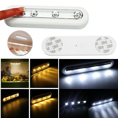 4LED Lights Touch Operated Battery Under Counter Wardrobe Storage Shelf Adhesive