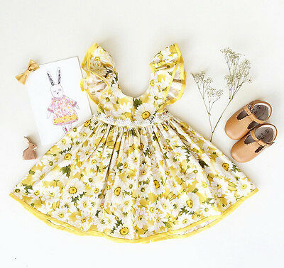 Floral Toddler Baby Kids Girls Princess Dress Wedding Pageant Party Dresses 0-3T