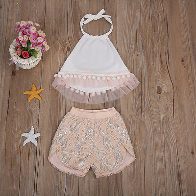 2Pcs Baby Girls T-shirts Top+Pants Shorts Newborn Outfit Summer Clothes Set