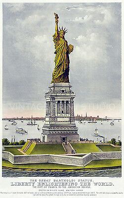 Statue of Liberty 1885 Vintage Travel Poster Giclee Canvas Print 20x32
