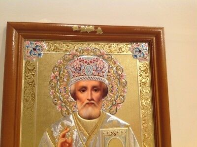 """Large Russian Orthodox Icon St.Nickolas Gold Embossed 12"""" x 10"""""""