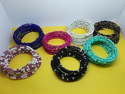 Ethnic African Kenyan Masai beaded coil spring bangle bracelet jewelry