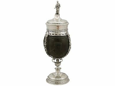 Continental Silver Mounted Coconut Cup and Cover - Antique Circa 1800