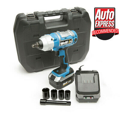 "Wolf 18V Lithium Ion Cordless 380NM Torque Impact Wrench Gun Sockets 1/2"" Drive"