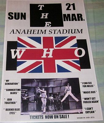 The Who 1975 Anaheim Stadium Replica Concert Poster W/protective Sleeve