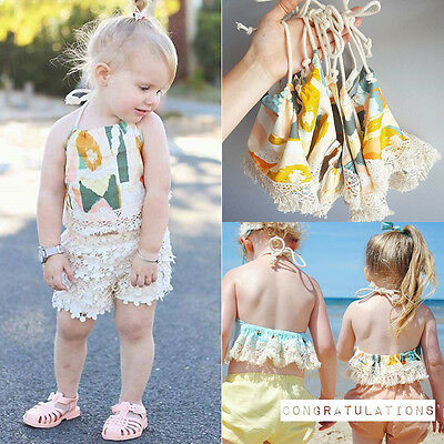 Newborn Infant Toddler Girl Clothes Lace T-shirt Top Backless Sleeveless Blouses